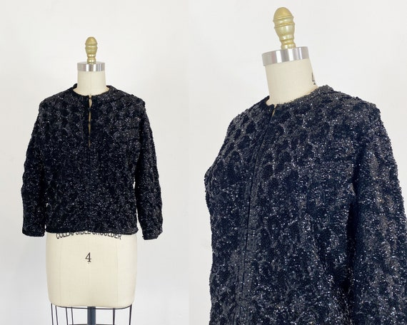 1960s Sequin Cardigan - Black Sequin Cardigan - 60
