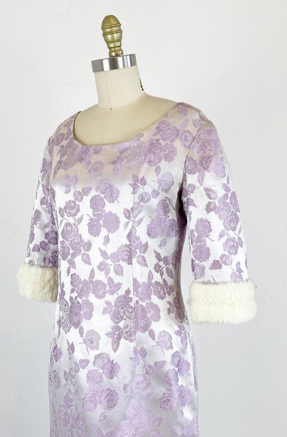 1950s Rose Print Dress - 50s Silk Jacquard Dress … - image 5