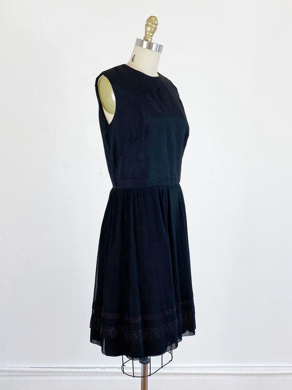 1960s party dress / black dress / pleated chiffon… - image 4