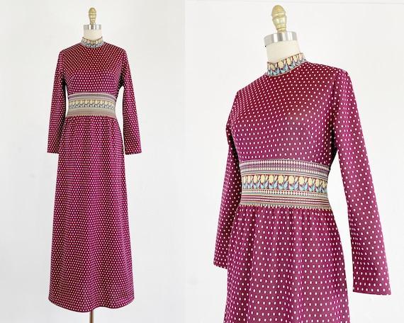 1970s Maxi Dress - Polkadot Maxi Dress - Boho Dres