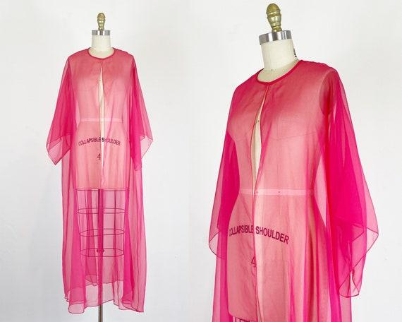 1960s Peignoir - Hot Pink Duster - Sheer Kimono -