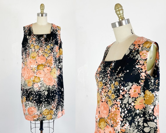 1960s Floral Dress / Shift Dress / Mod Dress / Siz