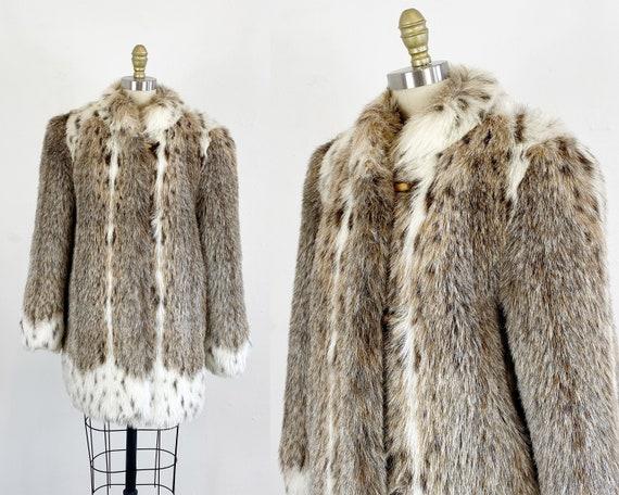 1980s Faux Fur Coat - Faux Lynx Coat - Vegan Fur C