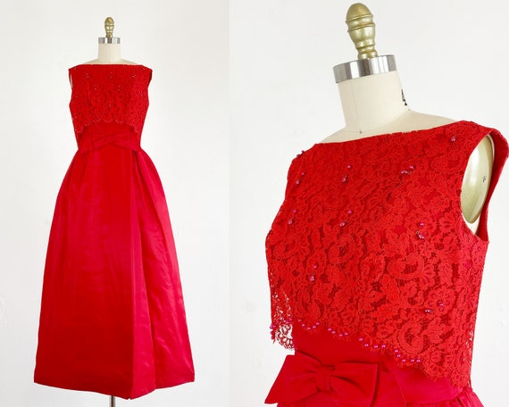 1960s Gown - 1960s Prom Dress - Red Formal Dress -