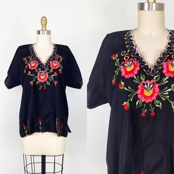 1970s blouse // Mexican peasant blouse // embroide