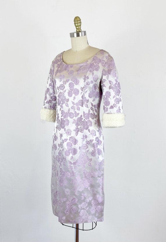 1950s Rose Print Dress - 50s Silk Jacquard Dress … - image 6