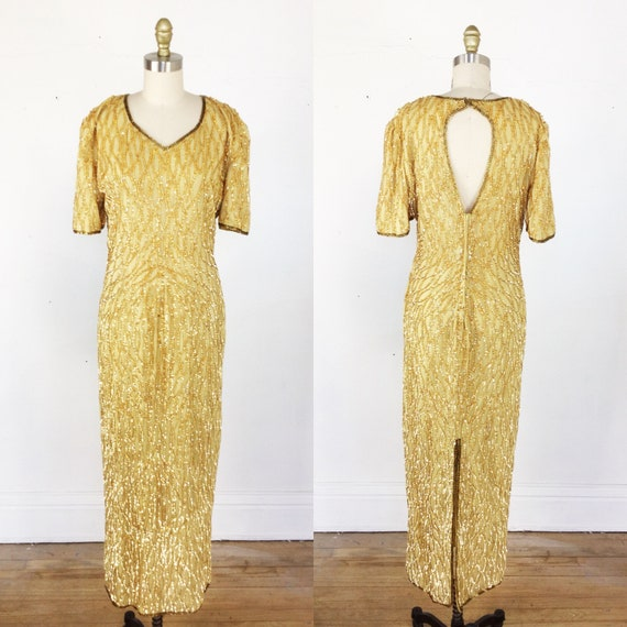 1980s gown // gold sequin gown // sequin maxi dres
