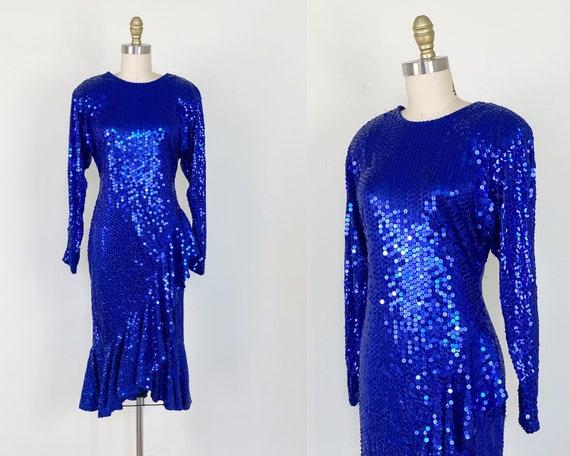 1980s Sequin Dress / Blue Sequin Dress / Mermaid D