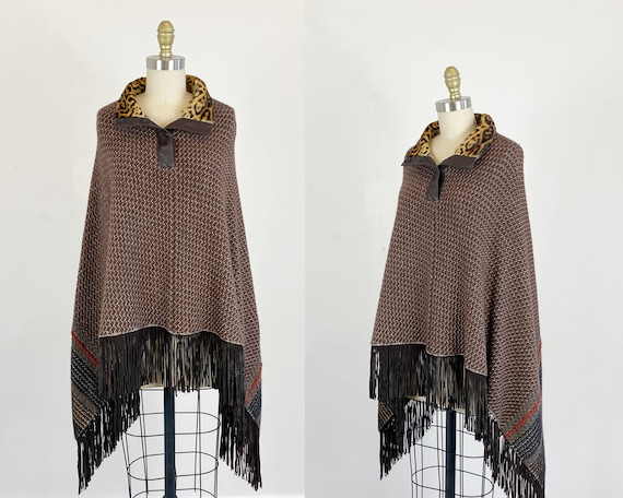 Vintage Poncho - Brown Suede And Pony Hair Poncho