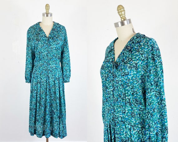 1950s Dress / 50s abstract dress / Plus Size 50s d