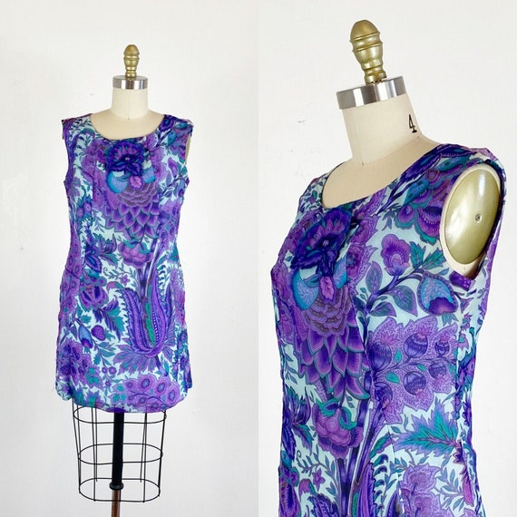 1960s Floral Paisley Dress / Shift Dress / Mod Dre