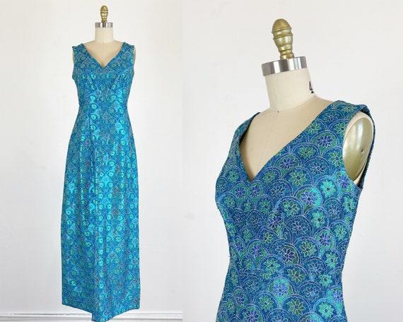 1960s Gown / Floral Lurex Metallic Gown / Bombshel