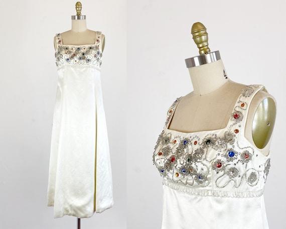 1960s Gown / White Silk Satin Gown / Empire Waist