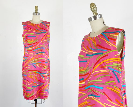 1960s Shift Dress / Mod Dress / Abstract Dress / S