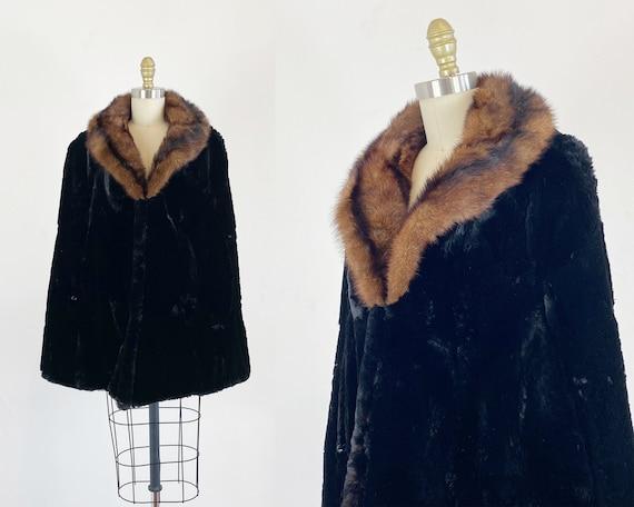 1950s Fur Cape - Rex Rabbit And Muskrat Fur Cape -