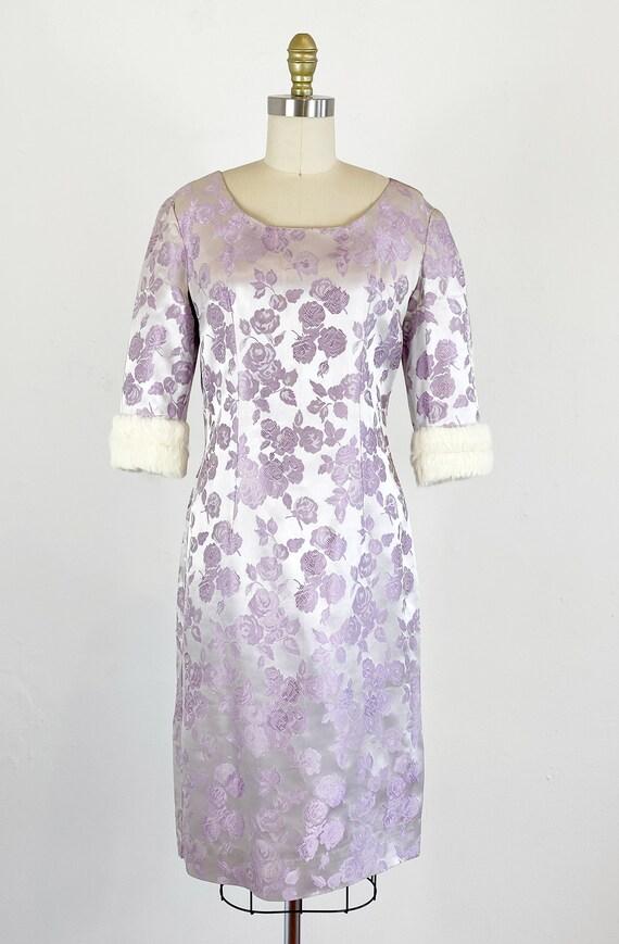 1950s Rose Print Dress - 50s Silk Jacquard Dress … - image 2