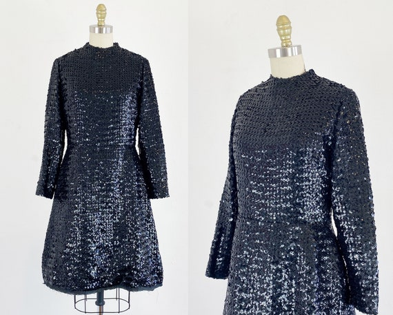 1960s Anne Fogarty Dress - Black Sequin Dress - 19
