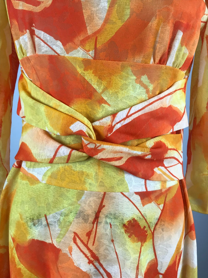 1970s dress  orange and yellow abstract water color dress  S