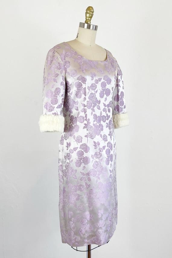 1950s Rose Print Dress - 50s Silk Jacquard Dress … - image 4