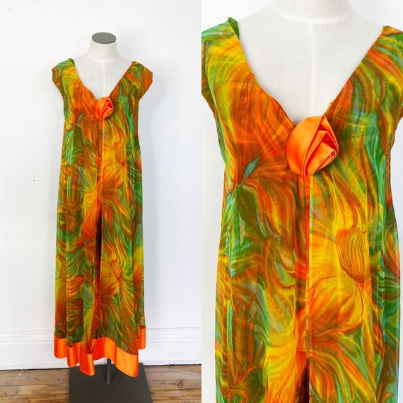 1960s jumpsuit // psychedelic floral jumpsuit with