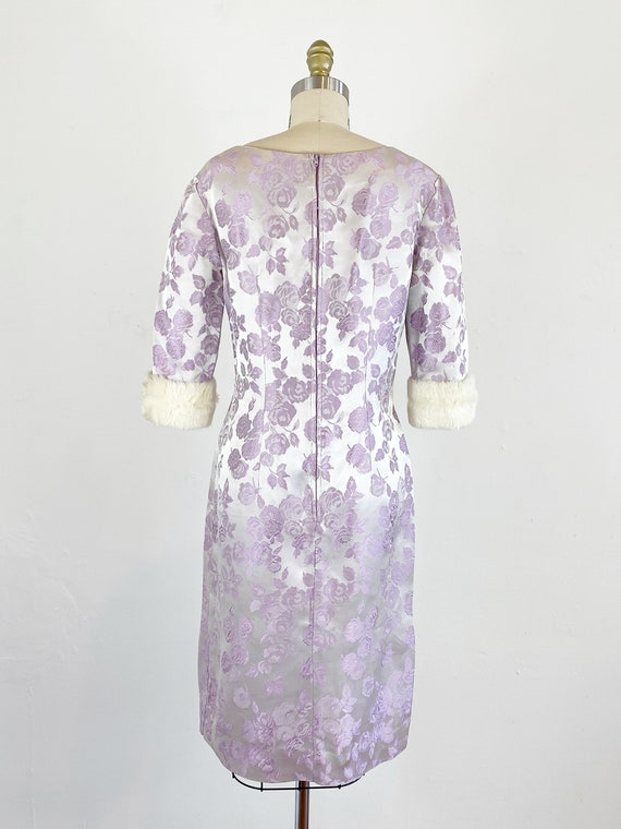 1950s Rose Print Dress - 50s Silk Jacquard Dress … - image 7