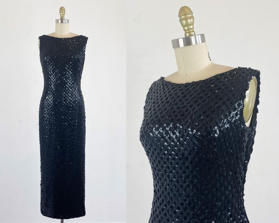 1960s Sequin Gown - Black Sequin Gown By Claralura