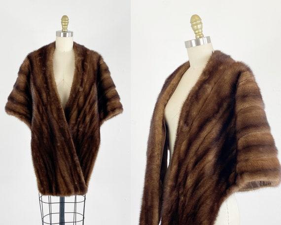 1950s Mink Stole - Brown Mink Stole - Fur Wrap - V