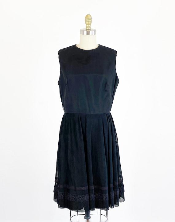 1960s party dress / black dress / pleated chiffon… - image 2