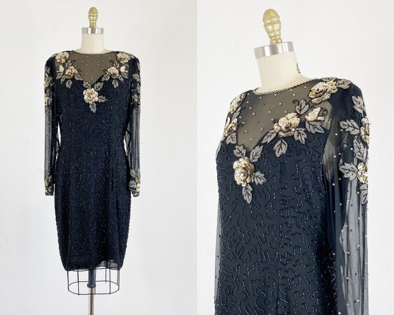 1980s Sequin Dress - Black Sequin Floral Dress - 8