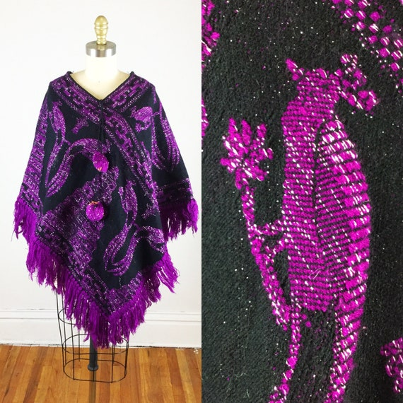 1970s poncho // purple and silver peacock print po