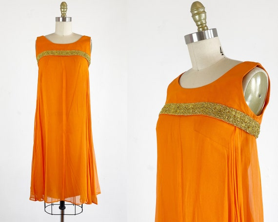 1960s Chiffon Dress - 60s Party Dress - Orange Chi