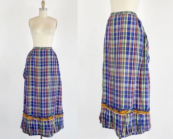 Authentic Victorian Skirt - Bustle Skirt - Plaid … - image 1