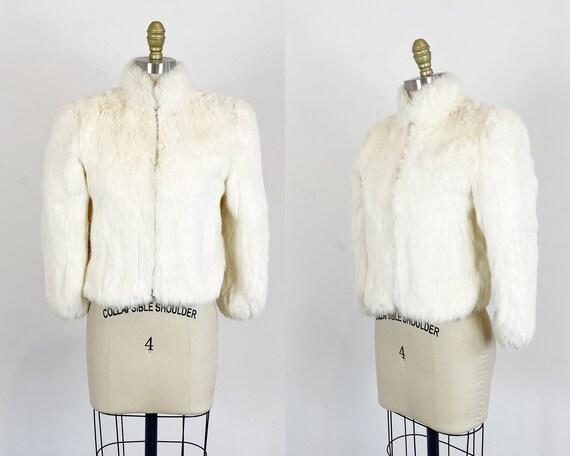 1980s fur coat - Rabbit Fur Coat - White Fur Coat