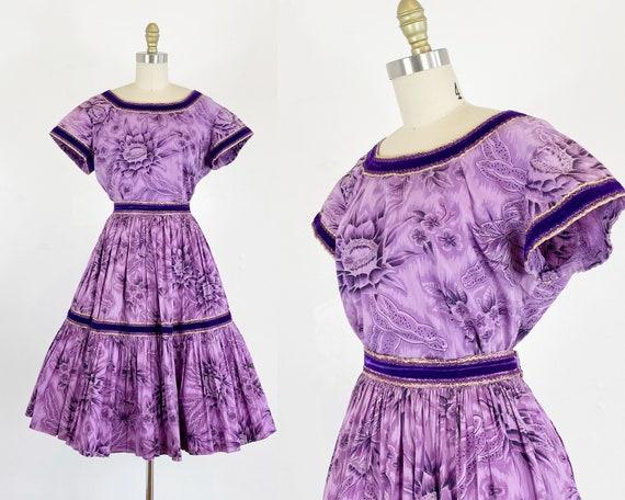 1950s Fiesta Dress - Patio Dress - Patio Skirt - P