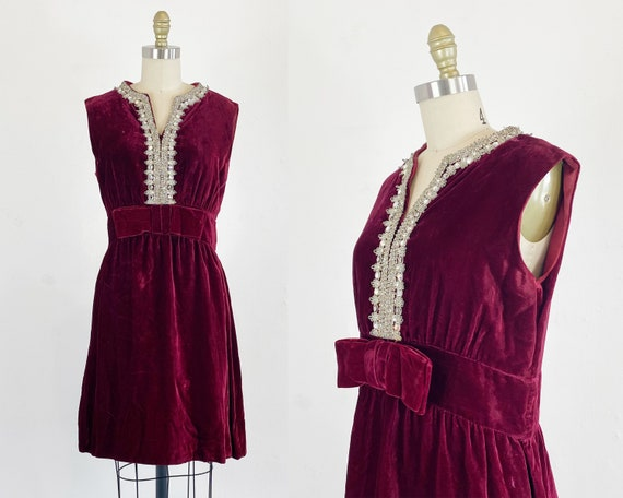 1960s Velvet Dress - Red Velvet Dress - 60s Cockta
