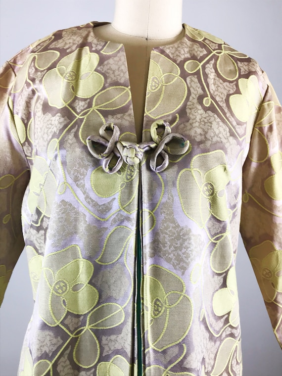 1960s house dress // gold floral fifth avenue hou… - image 4