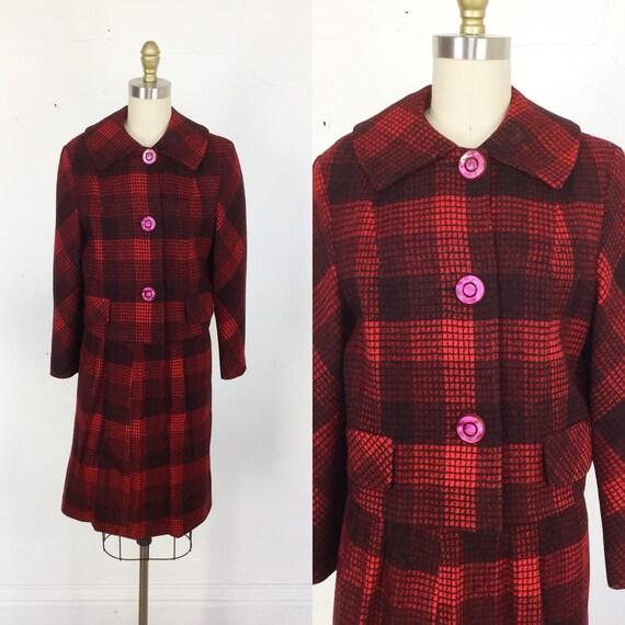 1960s Women's suit // red plaid women's suit // Sm