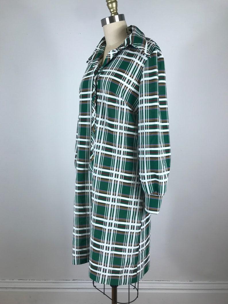 1970s dress  green and white Plaid shirt dress  XL