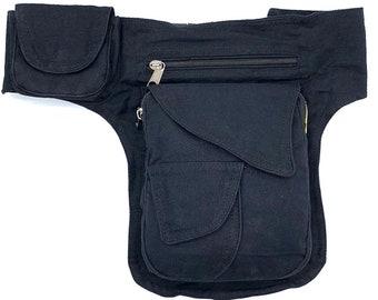 Unique design plain black 4 pocket multipurpose Fanny Pack Hip Bag Festival Bag Travel waist pack 100% cotton FAIR TRADE  Handmade with Love