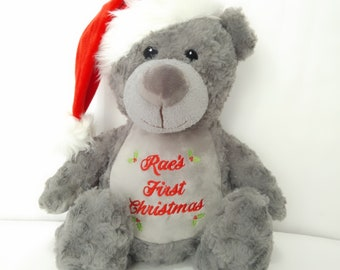 personalised teddies christmas gift custom teddy Personalised first christmas penguin teddy bear pebguin bear embroidered penguin