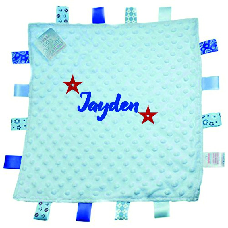 Personalised Taggie Tags Blanket Dimple Comforter Baby Girl Boy Gift Blue Stars