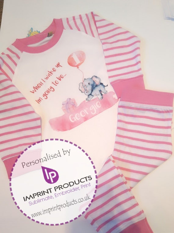 Birthday outfit WITH Pyjamas Pjs Personalised Girl Age 1,2,Pink Any Designs