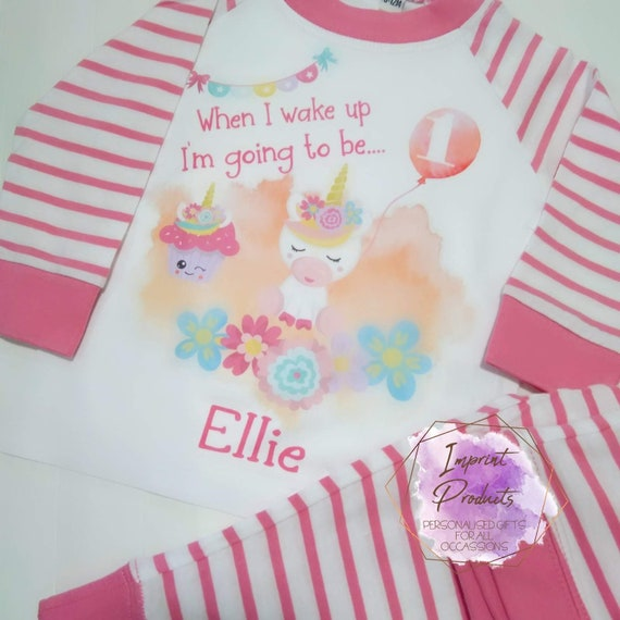 When I wake Up I Will Be 1 Pyjamas Aged 1-2 Years Girls Personalised Pjs One 1st