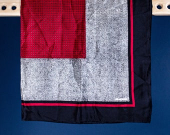 A Echo / Vintage / 80s / Black / White / Red / Herringbone / Graphic / Geometric / Print / Silk / Scarf / Gift
