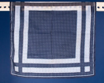 A Vintage / 60s / MCM / Black / White / Polka Dot / Grid / Square / Print / Scarf / Gift / Made in Italy