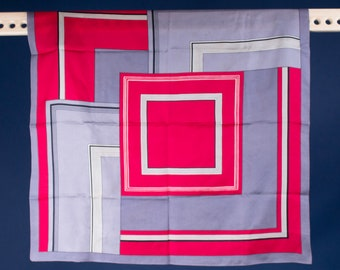 A Vintage / MCM / Red / Grey / Black / White / Graphic / Square / Geometric / Print / Scarf / Gift