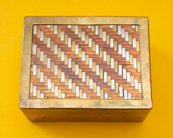 A 70s / 80s/ Vintage / Copper / Brass / Silver / Herringbone / Woven / Metal / Napkin Ring / Gift / Made in India