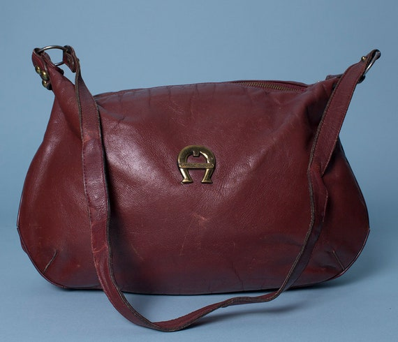 Vintage Etienne Aigner Medium Red Leather Shoulder Bag  1691787ae5454
