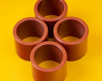 A 90s / Vintage / Terracotta / Coral / Salmon / Orange / Plastic / Acrylic / Napkin Ring / Gift / Made in Hong Kong