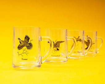 A Federal / Sportsman / Vintage / 60s / 70s / MCM / Black / Silver / Clear / Canadian Bird / Glass / Beer / Stein / Gift